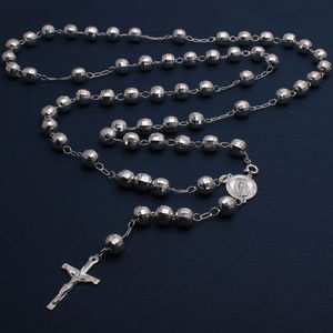 Sterling Silver Beaded Cross Rosary Necklace